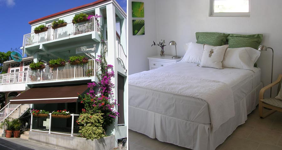 L:Exterior of Cruz Bay Boutique Hotel R:Guest Room Bed